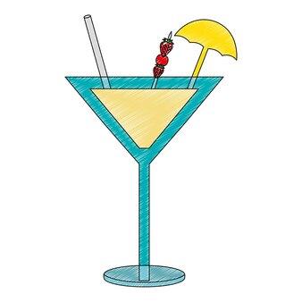 Cocktail drink con decorazione di fragole e ombrelli