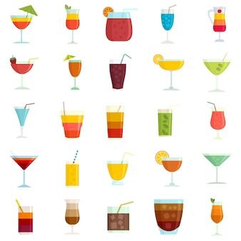 Icone del cocktail impostate. set piatto di icone vettoriali cocktail isolato su sfondo bianco