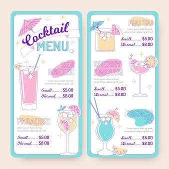 Modello di menu cocktail illustrato