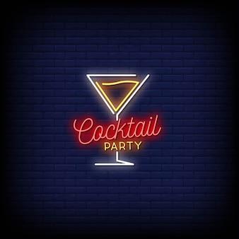 Stile di insegne al neon di logo del cocktail party