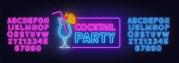 Insegna al neon del cocktail party sulla priorità bassa del muro di mattoni. alfabeti al neon blu e rosa.