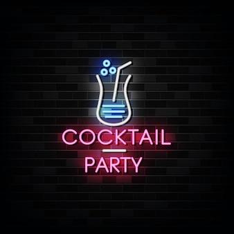 Insegne al neon di cocktail party. modello di disegno in stile neon