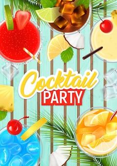 Manifesto realistico del cocktail party con frutta tropicale e illustrazione di alcol