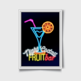 Cocktail cantare. segno di città al neon.