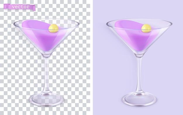 Cocktail in un set 3d di vetro trasparente
