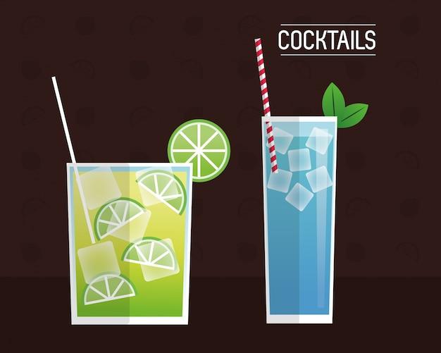 Cocktail blu e fondo nero mimosa