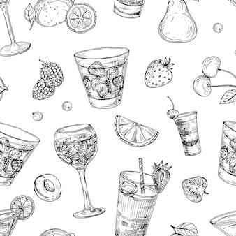 Modello di cocktail. schizzo di bevande e frutta sfondo. struttura senza giunte di vettore di bevande disegnate a mano. illustrazione cocktail bevanda bevanda, schizzo senza cuciture