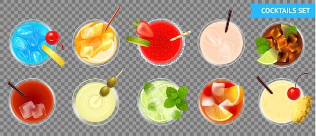 Vista dall'alto di cocktail impostato con illustrazione di frutta
