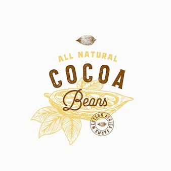 Segno astratto di fave di cacao, simbolo o modello di logo. fagiolo di cacao disegnato a mano con tipografia vintage premium e sigillo di qualità. elegante concetto di classe emblema.