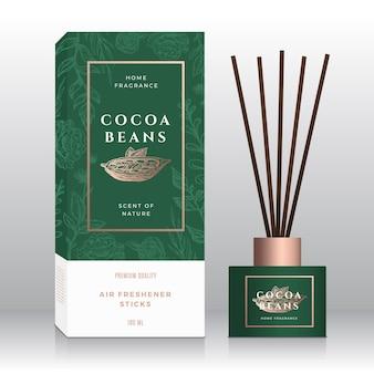 Modello di scatola astratto bastoncini di fragranza domestica di fave di cacao.