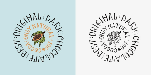 Distintivo o logo vintage di fave di cacao o grani per negozio di tipografia di magliette o insegne a mano
