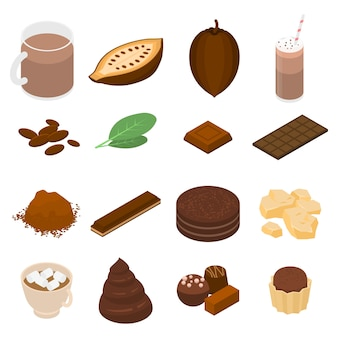 Set di icone di cacao, stile isometrico