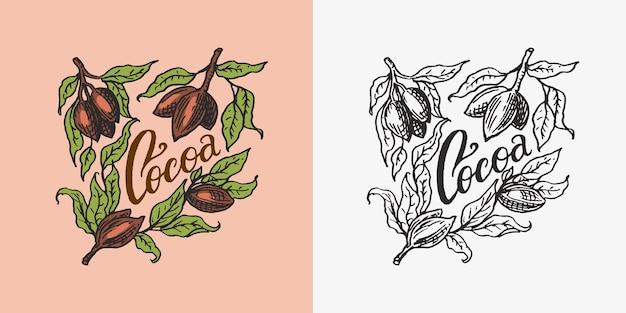 Distintivo vintage di foglie di cacao o logo per negozio di tipografia di magliette o insegne disegnate a mano incise