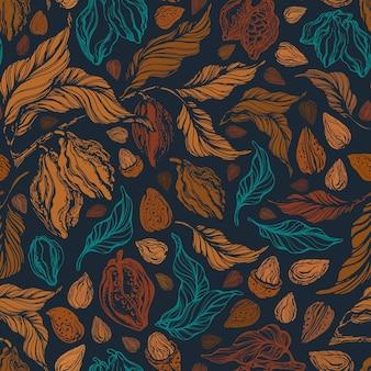 Modello senza cuciture di cacao e noci. texture frutta, grano, ramo della natura. stampa disegnata a mano