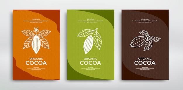 Modello di progettazione di imballaggi di cacao. illustrazione di stile di linea. cacao in polvere