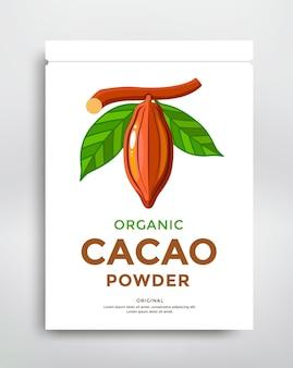 Modello di poster di confezionamento di cacao