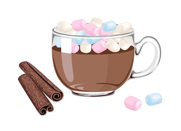 Cacao con marshmallow colorati in tazza di vetro trasparente