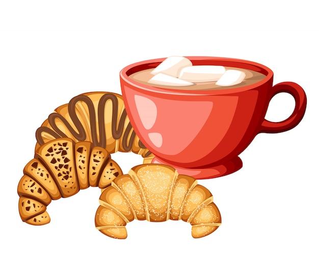 Cacao con marshmallow in tazza rossa con set di croissan diversi ripieni crema al cioccolato e sesamo in alto illustrazione su sfondo bianco