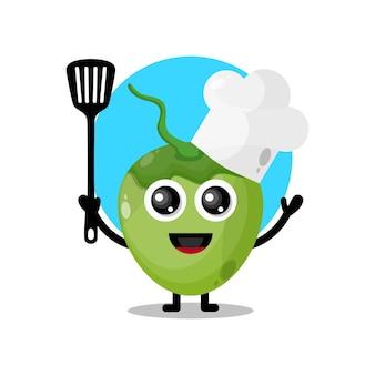 Simpatico personaggio mascotte chef di cocco