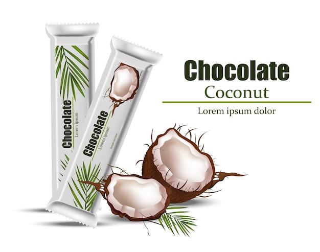 Confezione di cioccolato al cocco mock up Vettore Premium