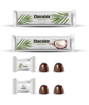 Confezione di cioccolato al cocco mock up