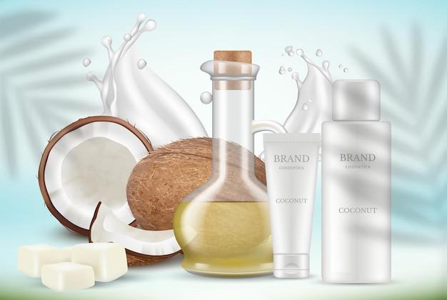 Cosmetici al cocco. olio, tubi di crema e foglie di palma. le piante si sovrappongono all'effetto ombra. sfondo di promozione realistica.