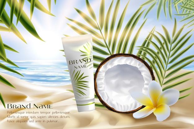 Illustrazione di vettore del pacchetto di prodotti cosmetici di cocco.