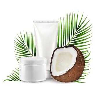 Cosmetici al cocco, illustrazione vettoriale. coco realistico con tubo crema mockup, foglie di palma.