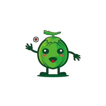 Cocco simpatico cartone animato design illustrazione clip art dolce