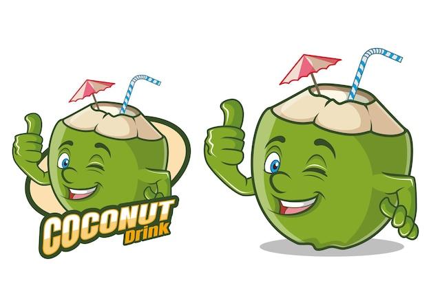 Mascotte del personaggio dei cartoni animati di bevanda di cocco