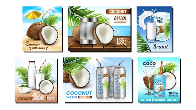 Set di scatole di imballaggio per bevande al cocco