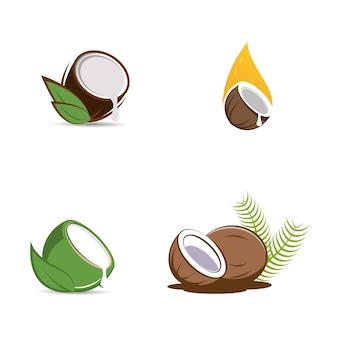 Logo della noce di cocco illustrazione del disegno dell'icona di vettore modello