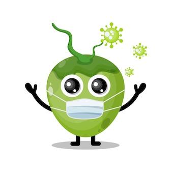 Simpatica mascotte del personaggio del virus della maschera di cocco