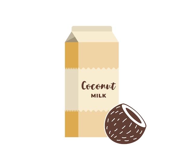 Scatola di cartone al latte di cocco. pacchetto bevande vegetariane senza lattosio. imballaggio di cartone per bevande eco-lattiero caseario vegano sano con noce di cocco. illustrazione vettoriale piatto isolato