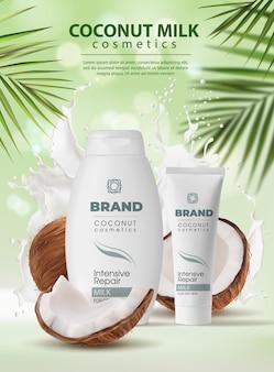 Cosmetici al latte di cocco, crema per la cura della pelle, shampoo