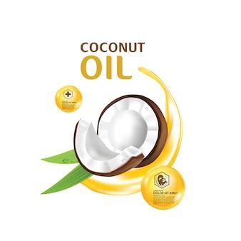 Noci di cocco olio di cocco e foglie tropicali verdi
