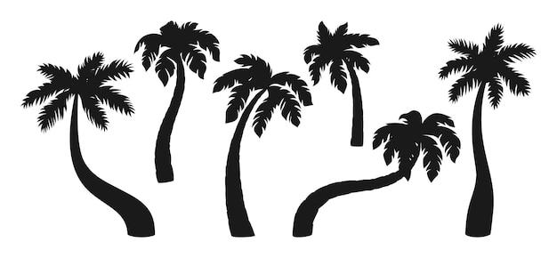 Insieme della siluetta nera della palma da cocco