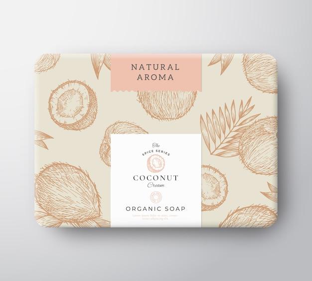 Scatola di cartone di sapone al cocco. mockup del contenitore di carta avvolto. confezione
