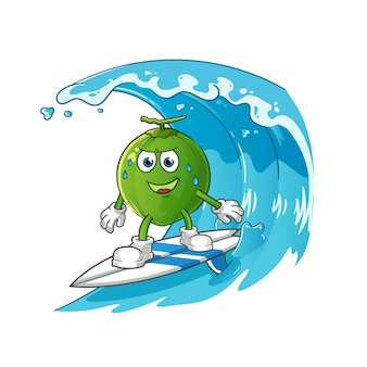 Coconut surfing on the wave character