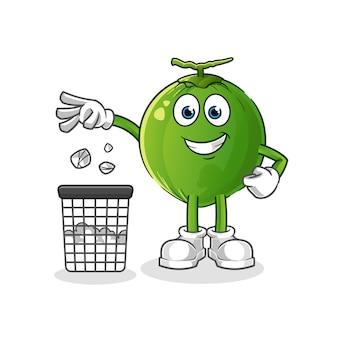 La noce di cocco lancia la spazzatura nella mascotte del bidone della spazzatura