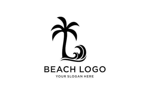 Design del logo dell'albero di cocco sulla spiaggia