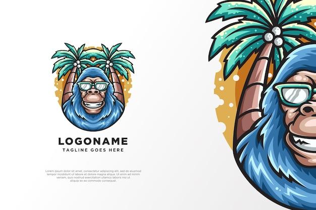 Disegno del logo del personaggio della scimmia dell'albero di cocco