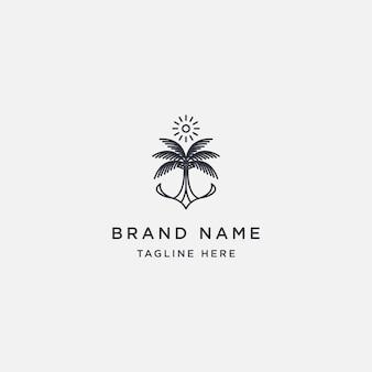 Modello di progettazione logo sole albero di cocco