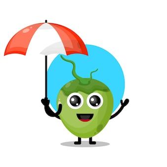Simpatico personaggio mascotte dell'ombrello di cocco