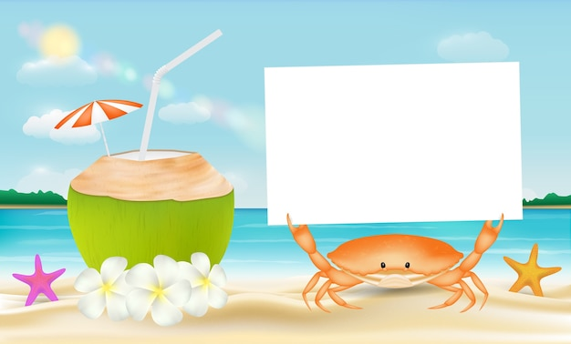 Acqua di cocco e granchio con carta su uno sfondo di mare spiaggia