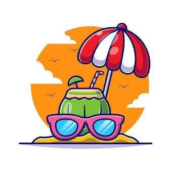 Noce di cocco con gli occhiali e l'ombrello nell'illustrazione piana del fumetto di estate.