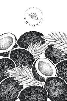 Noce di cocco con modello di banner di foglie di palma