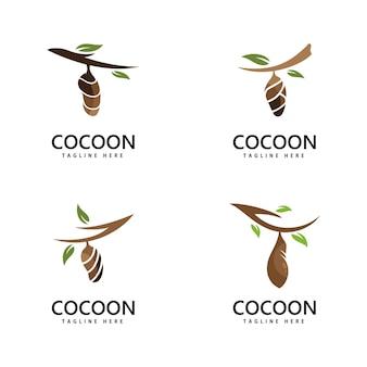 Disegno del modello dell'illustrazione dell'icona di vettore del logo del bozzolo