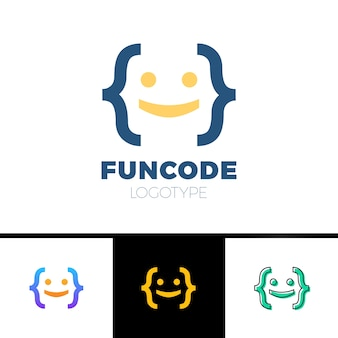 Code bracket man logo - testa di sorriso uomo fatto con parentesi