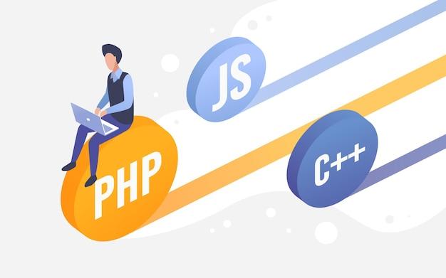 Codificatore di ingegneria web di lavoro di sviluppo del codice seduto su monete di linguaggi di programmazione